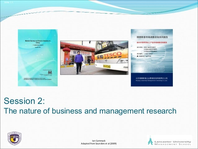Slide 1.1 Session 2: The nature of business and management research Ian Cammack Adapted from Saunders et al (2009)