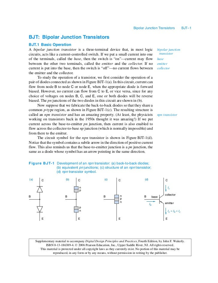Bipolar Junction Transistors                 BJT–1BJT: Bipolar Junction TransistorsBJT.1 Basic OperationA bipolar junction...