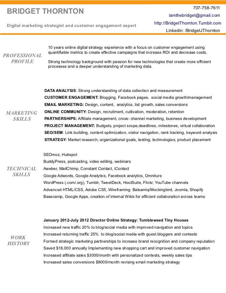 best digital marketing resume