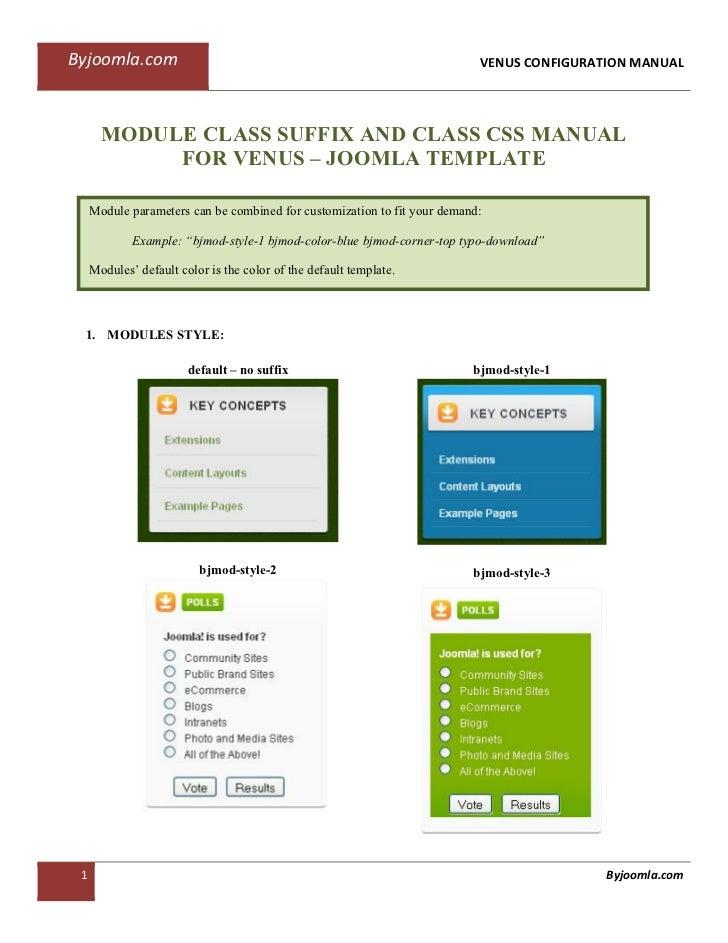 Byjoomla.com                                                               VENUS CONFIGURATION MANUAL       MODULE CLASS S...