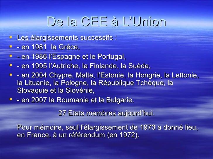 De la CEE à L'Union <ul><li>Les élargissements successifs : </li></ul><ul><li>- en 1981  la Grèce,  </li></ul><ul><li>- en...
