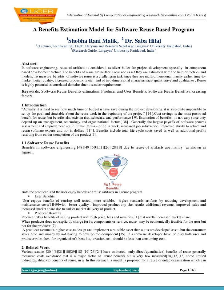 International Journal Of Computational Engineering Research (ijceronline.com) Vol. 2 Issue.5       A Benefits Estimation M...