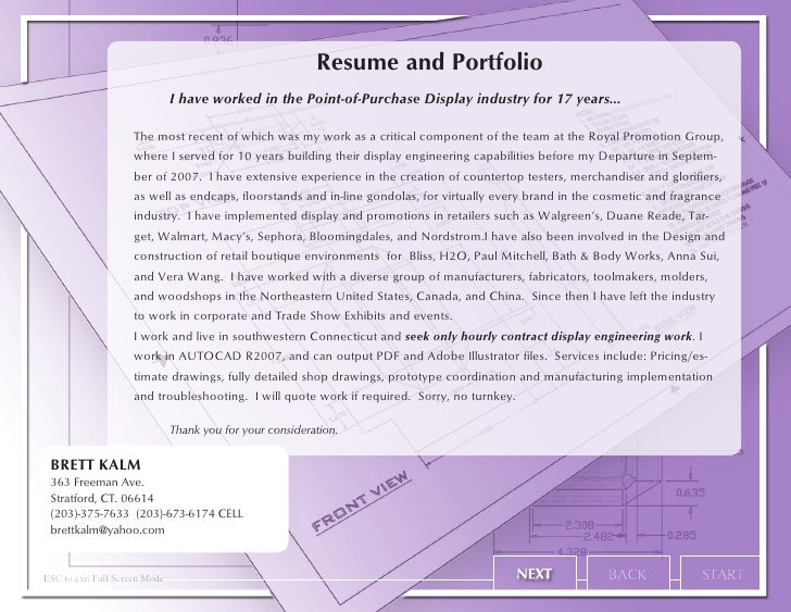 resume and portfolio i have worked in the point of purchase display