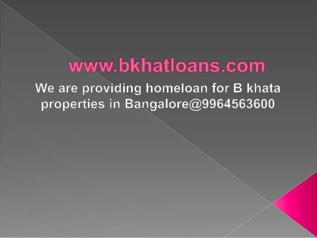 b khata loans in bangalore dating