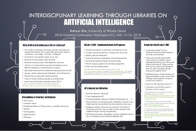 INTERDISCIPLINARY LEARNING THROUGH LIBRARIES ON ARTIFICIAL INTELLIGENCE Bohyun Kim, University of Rhode island 2018 Code4L...