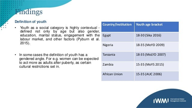 Findings Definition of youth • Youth as a social category is highly contextual - defined not only by age but also gender, ...