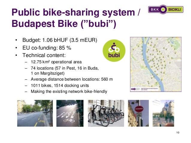 """Public bike-sharing system / Budapest Bike (""""bubi"""") 10 • Budget: 1.06 bHUF (3.5 mEUR) • EU co-funding: 85 % • Technical co..."""