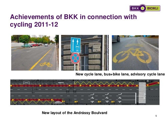 Achievements of BKK in connection with cycling 2011-12 5 New cycle lane, bus+bike lane, advisory cycle lane New layout of ...