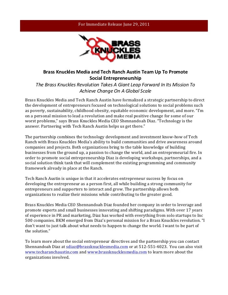 For Immediate Release June 29, 2011                     Brass Knuckles Media and Tech Ranch Aust...