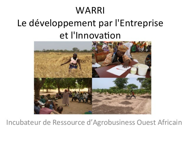 WARRI   Le  développement  par  l'Entreprise   et  l'Innova7on      Incubateur  de  Ressource  d'Agr...