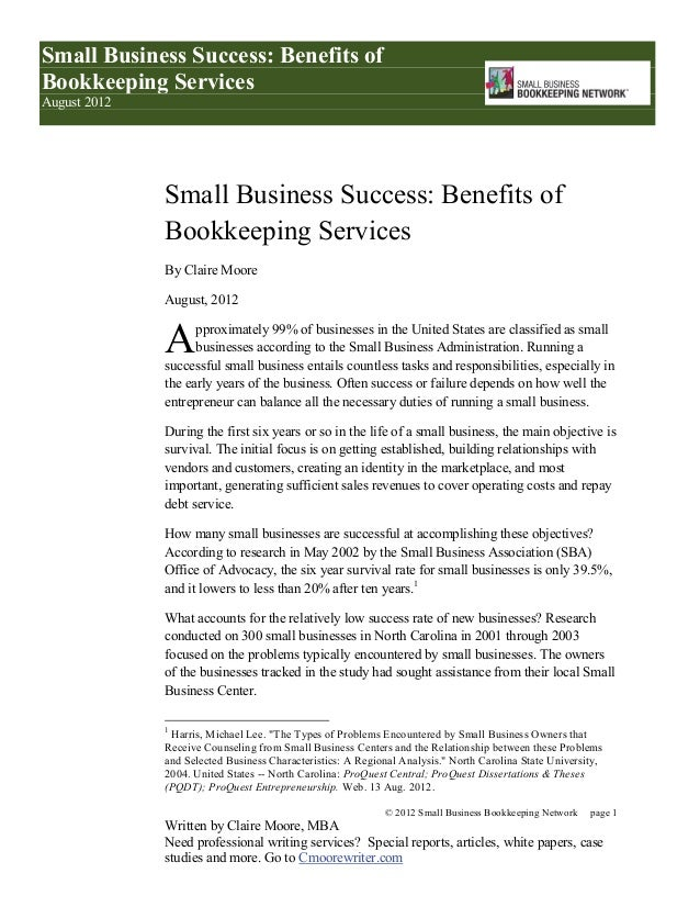 benefits of bookkeeping services