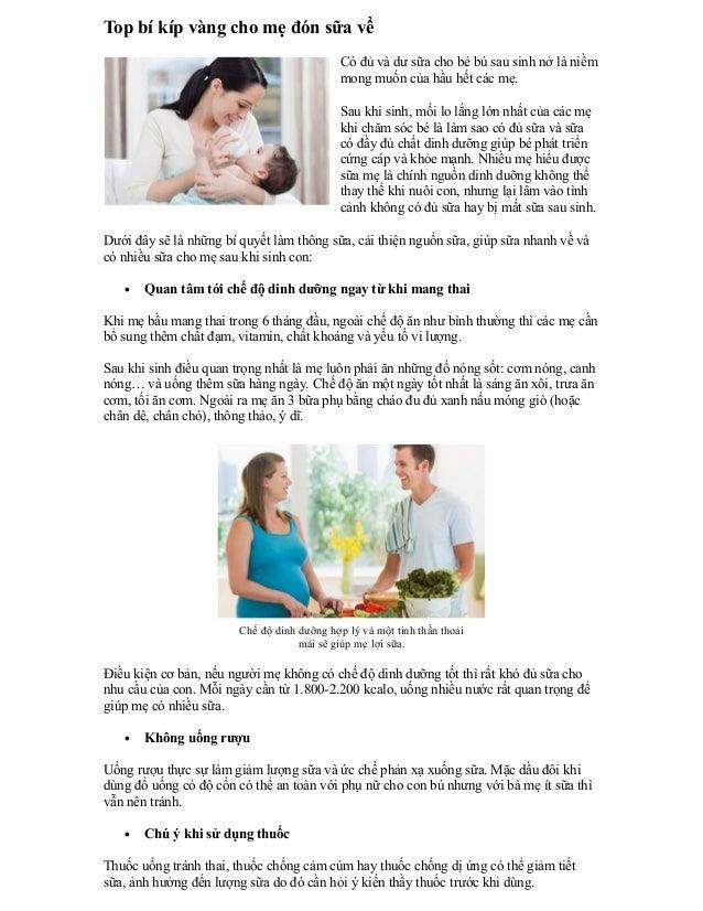 Top bí kíp vàng cho mẹ đón sữa về                                             Có đủ và dư sữa cho bé bú sau sinh nở là niề...