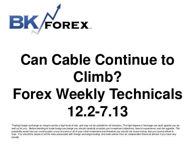 Can Cable Continue to Climb? Forex Weekly Technicals 12.2-7.13 Trading foreign exchange on margin carries a high level of ...