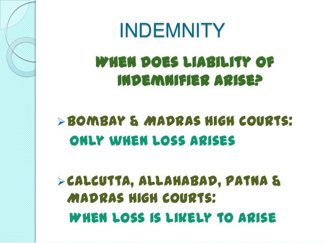 Contracts of Indemnity