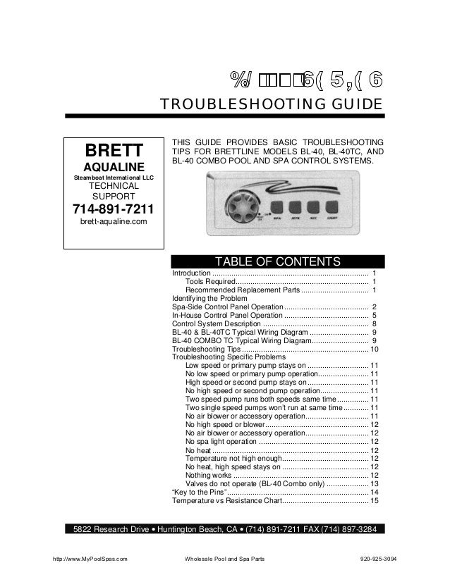 TROUBLESHOOTING GUIDE                                      THIS GUIDE PROVIDES BASIC TROUBLESHOOTING          BRETT       ...