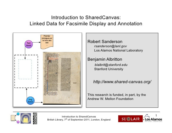 Introduction to SharedCanvas:Linked Data for Facsimile Display and Annotation                                         Robe...