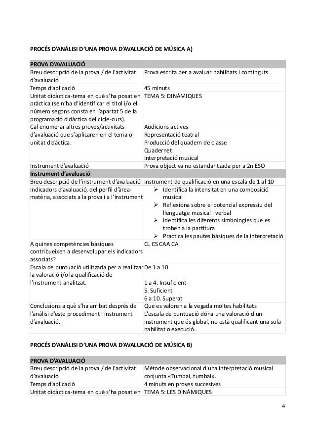4 PROCÉS D'ANÀLISI D'UNA PROVA D'AVALUACIÓ DE MÚSICA A) PROVA D'AVALUACIÓ Breu descripció de la prova / de l'activitat d'a...