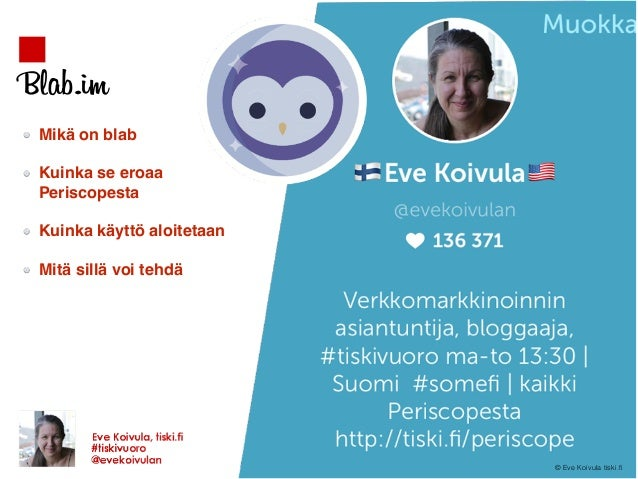 Blab.im Mikä on blab Kuinka se eroaa  Periscopesta Kuinka käyttö aloitetaan Mitä sillä voi tehdä © Eve Koivula tiski.fi