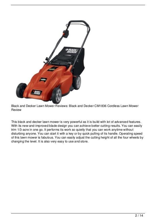 Black And Decker Lawn Mower Reviews Cm1836 Cordless Lawn