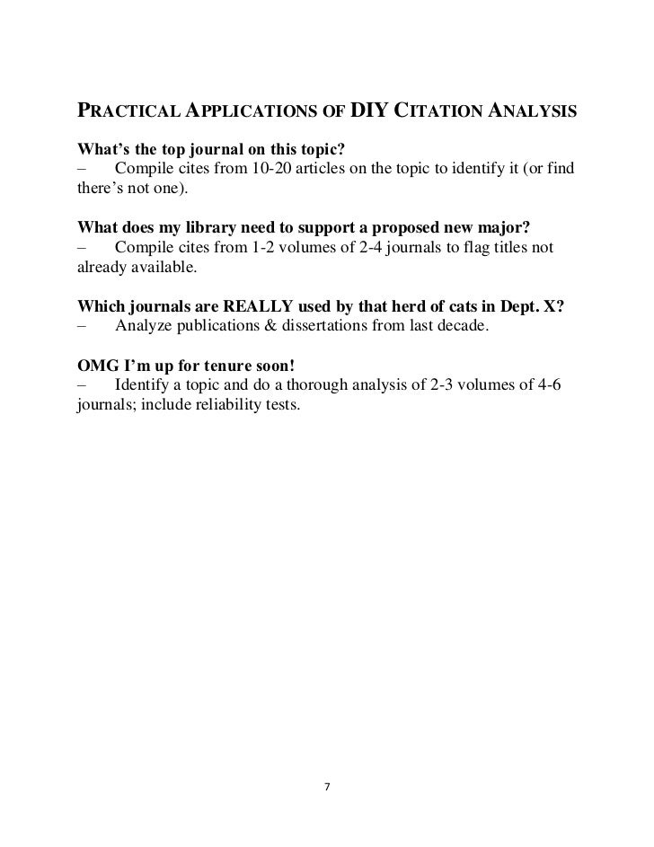 Practical applications of citation analysis-handout