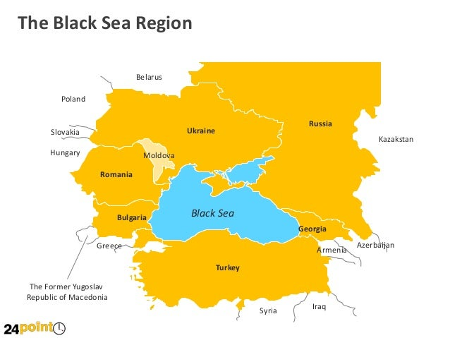 Black Sea Region Map PowerPoint Slides - Georgia map ukraine