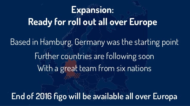 Expansion:  Ready for roll out all over Europe Based in Hamburg, Germany was the starting point Further countries are fol...