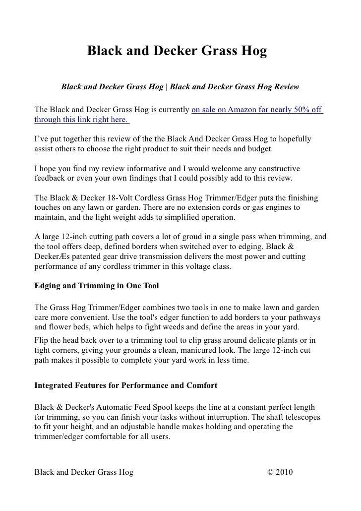 Black and Decker Grass Hog Manual gh400