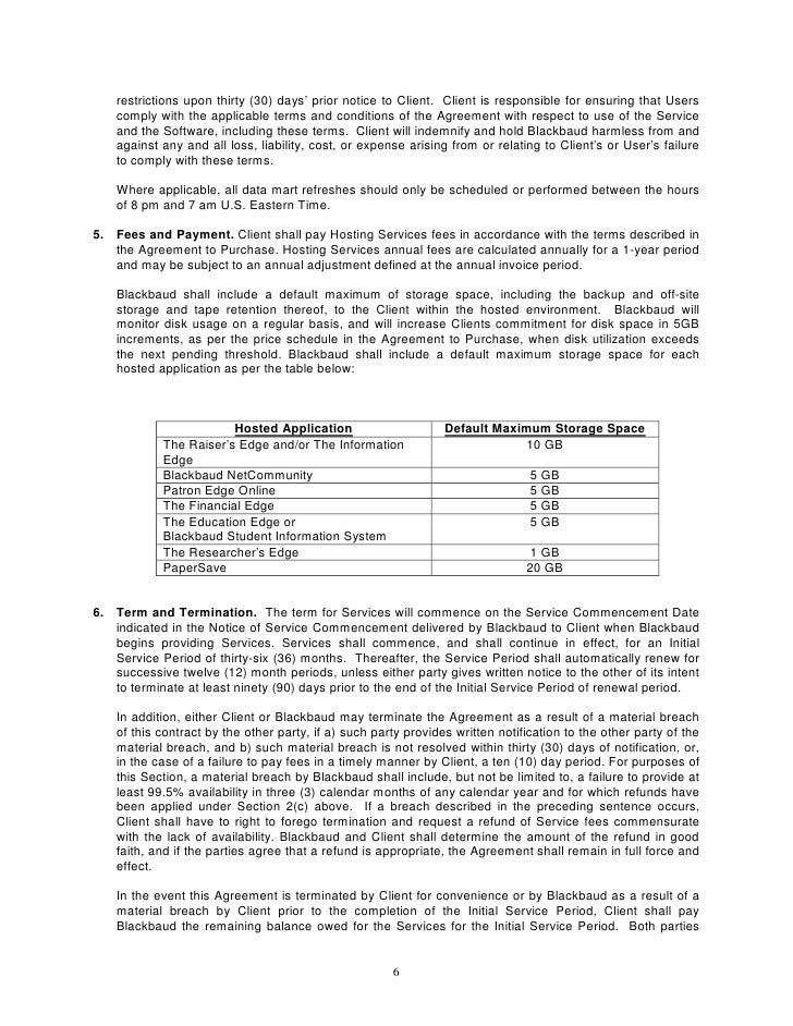 Blackbaud Hosting Service Level Agreement