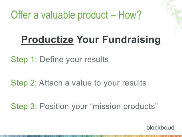 Offer a valuable product – How? Productize Your Fundraising Step 1: Define your results Step 2: Attach a value to your res...