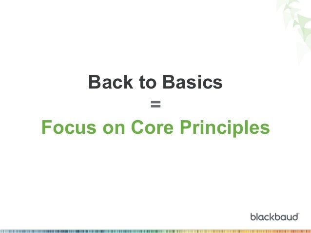 Back to Basics = Focus on Core Principles