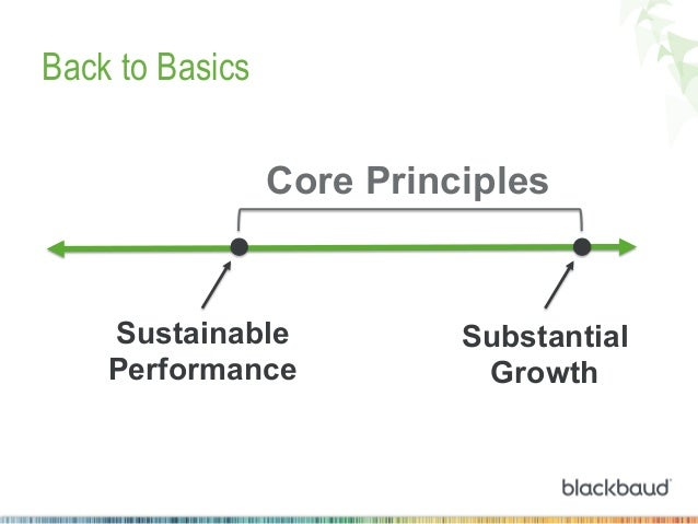 Back to Basics Core Principles  Sustainable Performance  Substantial Growth