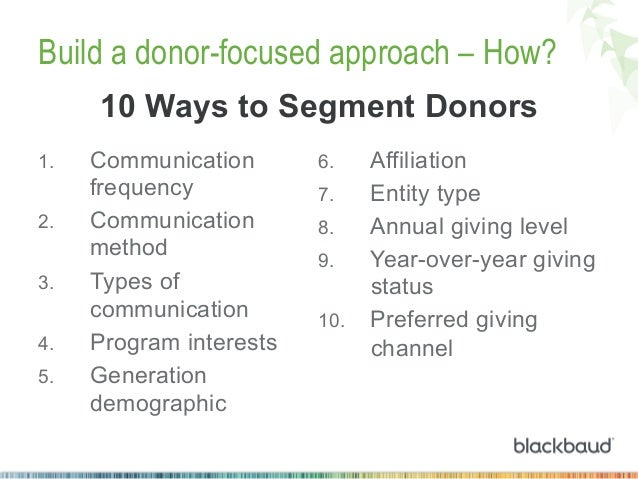 Build a donor-focused approach – How? 10 Ways to Segment Donors 1. 2. 3. 4. 5.  Communication frequency Communication...