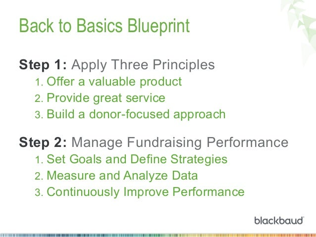 Back to Basics Blueprint Step 1: Apply Three Principles 1. Offer a valuable product 2. Provide great service 3. Build a...