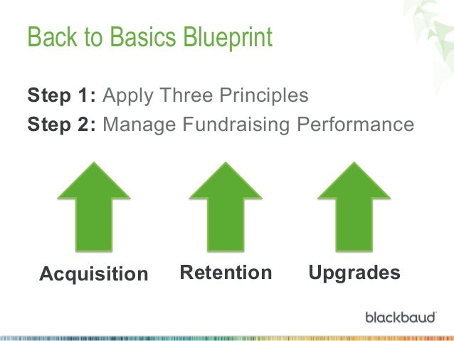 Back to Basics Blueprint Step 1: Apply Three Principles Step 2: Manage Fundraising Performance  Acquisition  Retention  Up...