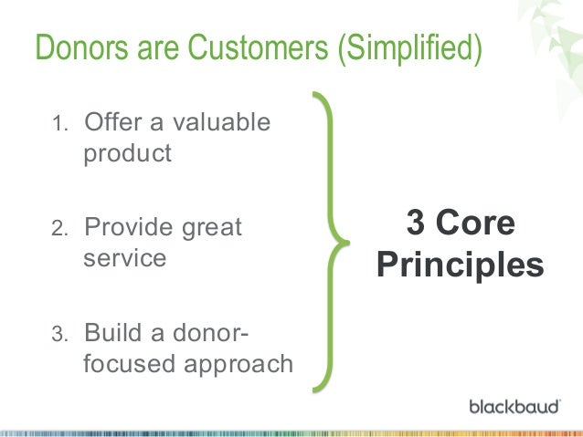 Donors are Customers (Simplified) 1. Offer a valuable  product 2. Provide great  service 3. Build a donor-  focused app...