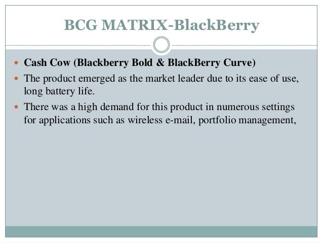 Blackberry BCG Matrix and Product Life Cycle