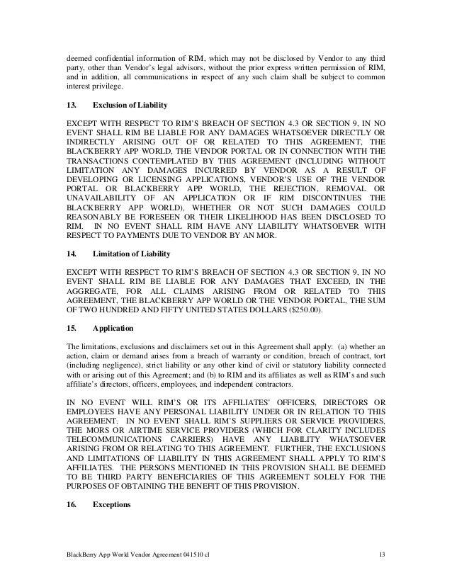 Blackberry App World Vendor Agreement – Vendor Confidentiality Agreement