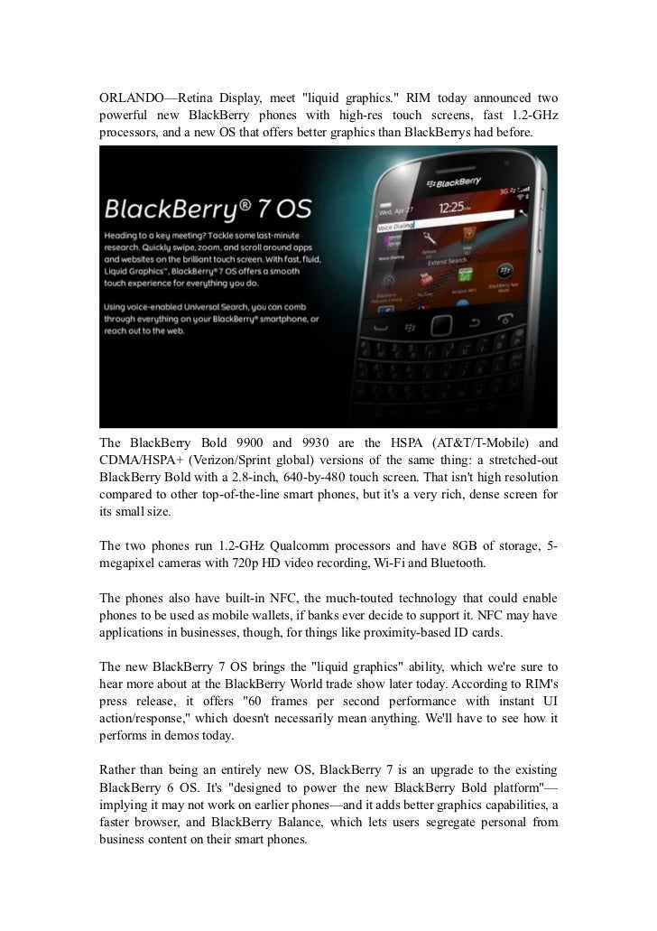 RIM Launches Two New Phones, New BlackBerry 7 OS