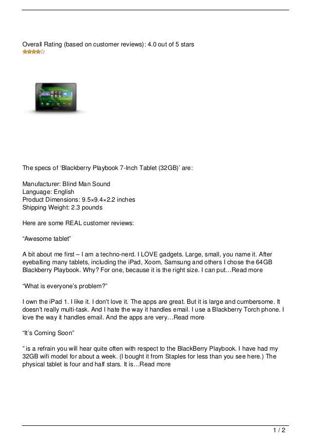 Blackberry Playbook 7-Inch Tablet