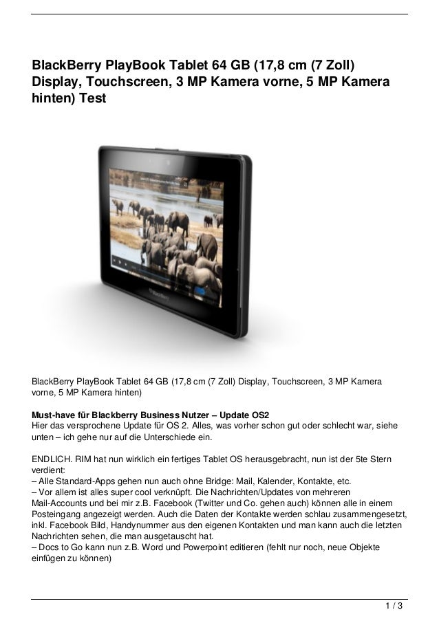 BlackBerry PlayBook Tablet 64 GB (17,8 cm (7 Zoll)Display, Touchscreen, 3 MP Kamera vorne, 5 MP Kamerahinten) TestBlackBer...