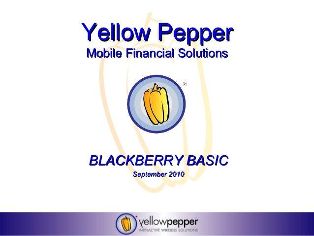 Yellow PepperMobile Financial SolutionsBLACKBERRY BASIC        September 2010