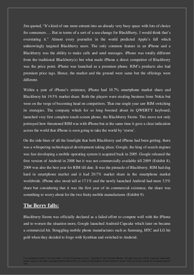 blackberry case study Its a case study analysis of ril(blackberry) analysis was carried out by authors  which fetched prizes in esteemed competitions by dinesh_shende in types.