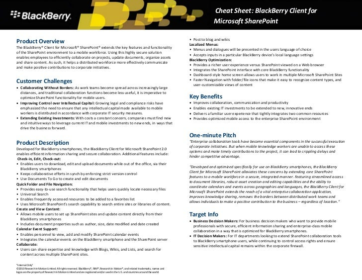 Black Berry Client For Share Point 2.0 Sales Cheat Sheet