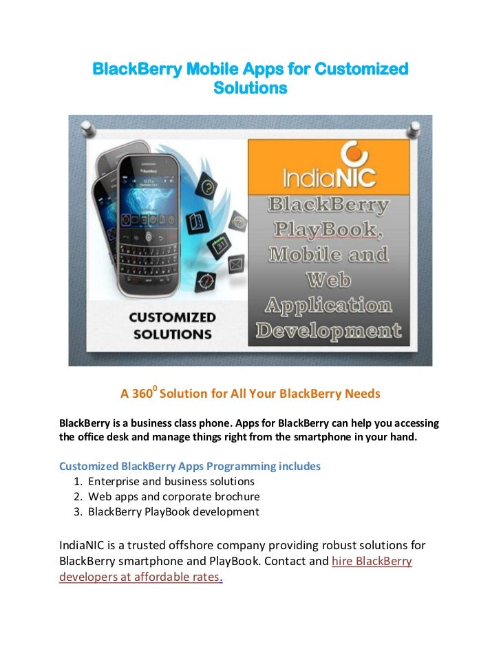 BlackBerry Mobile Apps for Customized                    Solutions            A 3600 Solution for All Your BlackBerry Need...