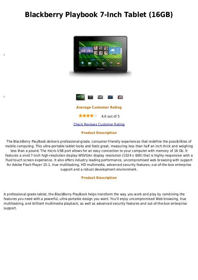 Blackberry Playbook 7-Inch Tablet (16GB)qq                                                 Average Customer Rating        ...