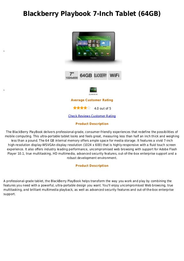 Blackberry Playbook 7-Inch Tablet (64GB)qq                                                 Average Customer Rating        ...
