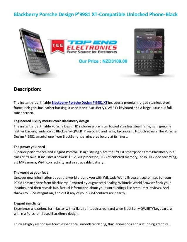 Blackberry Porsche Design P9981 XT-Compatible Unlocked Phone-BlackDescription:The instantly identifiable Blackberry Porsch...