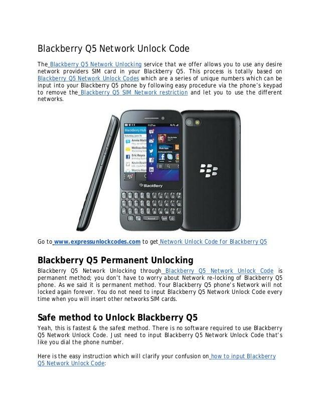 Blackberry Q5 Network Unlock Code