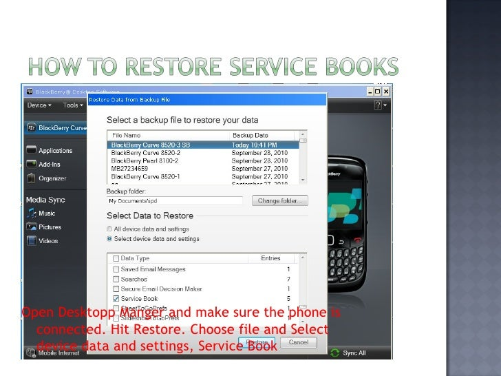 service book information not found blackberry bold