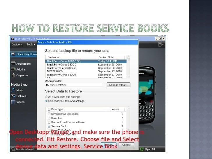 service book information not found blackberry bold